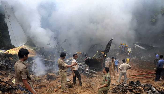 Air India Express wreckage in Mangalore, after flight from Dubai