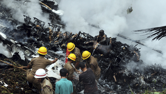 dead passengers in the wreckage of the Air India Express crash in Mangalore, India
