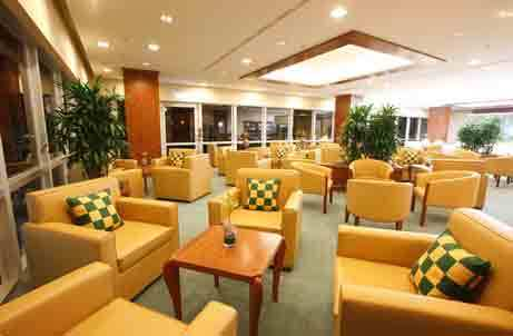 Emirates airport lounge in Dusseldorf, Germany