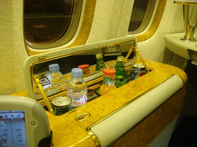 first class refreshments on an Emirates flights from New York to Dubai