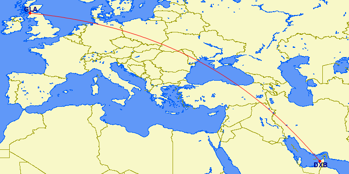 shortest flight path from Dubai to Glasgow (UK)