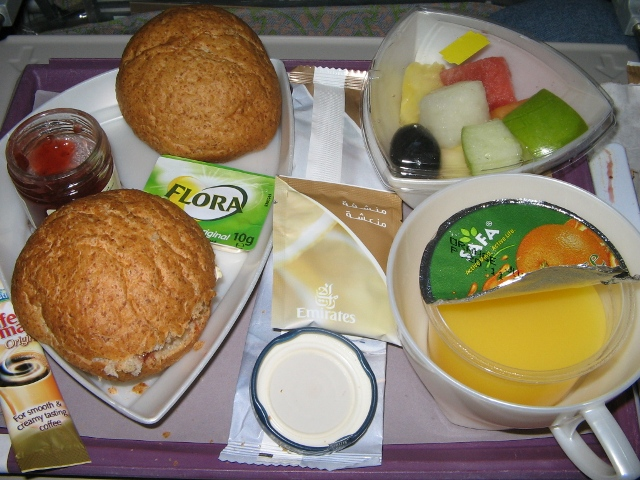 Emirates meal on board a Dubai to Manchester (UK) flight