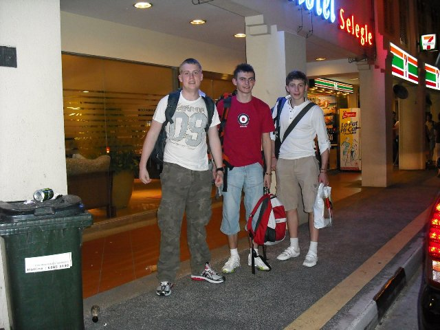 Ben, Joe & Jamie at a 7 Eleven in Singapore